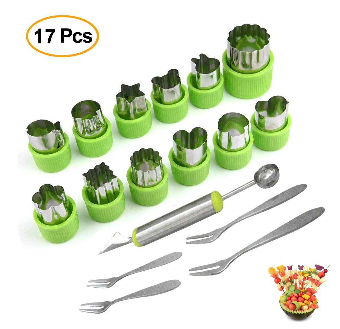 Vegetable Cutters Shapes Fruit Cutter Shapes Carving Tool Set 2 in 1 With 4pcs Fork melon baller Ice Cream Scooper Cookie Cutter Decorative Baking for Kids—17PCS