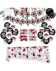 Gukasxi 30 szt. krwawe odręczne dekoracje halloweenowe zestaw banerów zawiera Halloween straszne balony imprezowe, krwawe naklejki okienne, baner z gałką oczną Halloween i prostokątny obrus