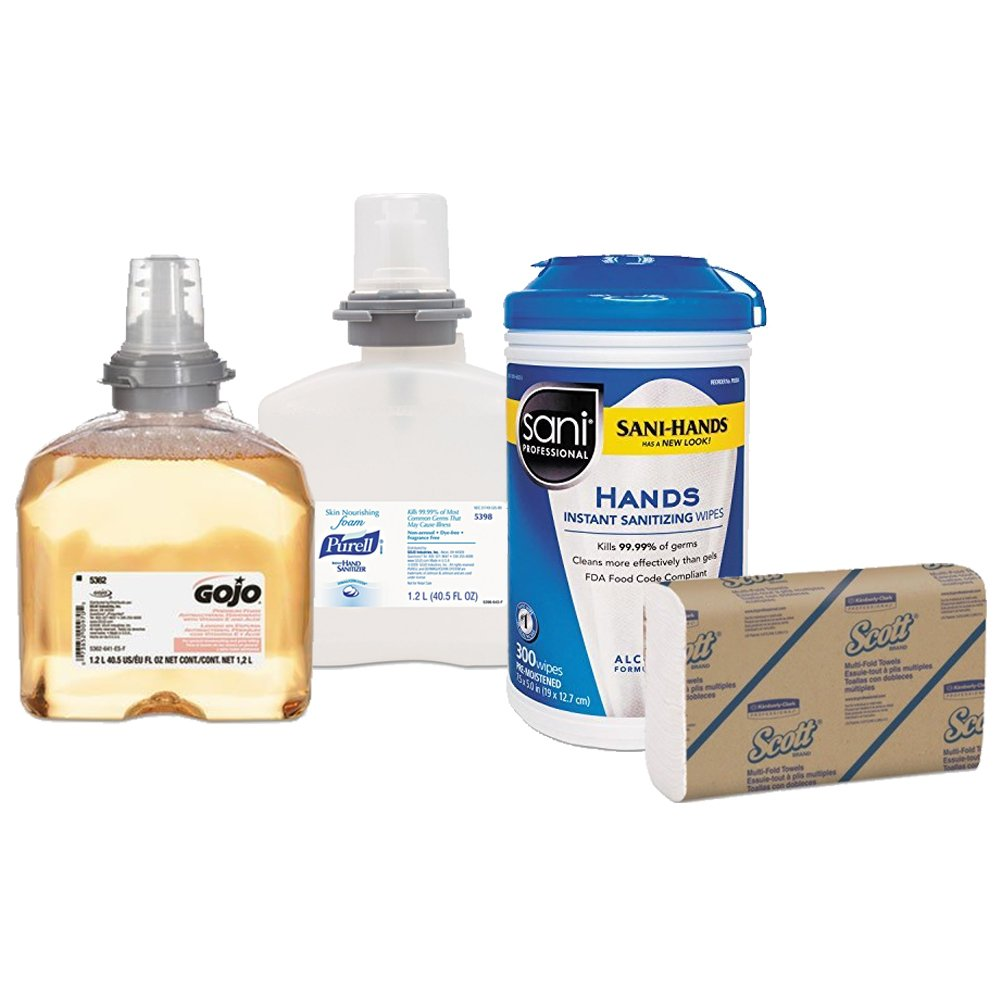 GOJO Premium Foam Antibacterial Hand Wash + Instant Hand Sanitizer Nourishing Foam by Purell + Sani Professional Hands Sanitizing Wipes Canister + Scott Multifold Paper Towels