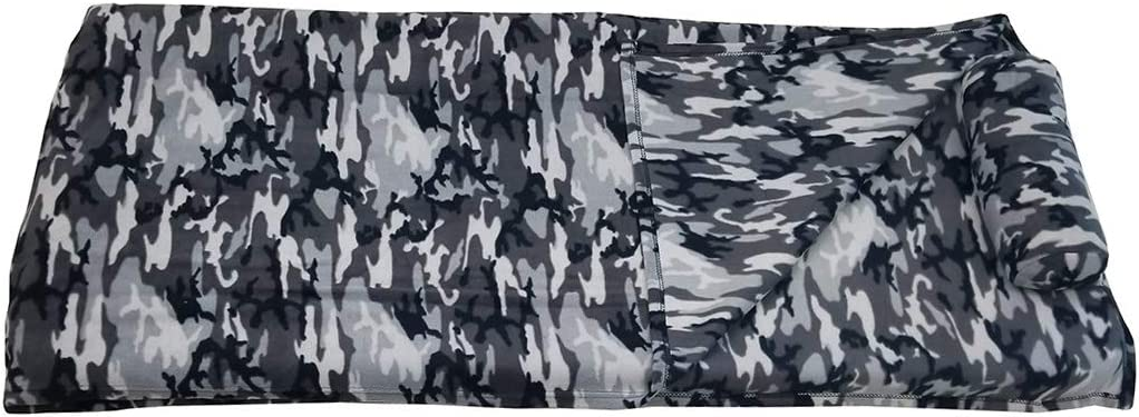 Fits Most Mats and Cots ROLLEE POLLEE Preschool and Daycare Napping Blanket with Pillow Super Soft Grey Camo