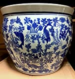 New 16″ Oriental Blue and White Koi FIsh and Plants Fish Bowl Jardiniere Planter Plant Pot Review