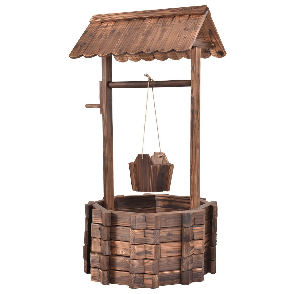 Wooden Wishing Well Hanging Planter Bucket Garden Patio Lawn Decor With Ebook by oldzon