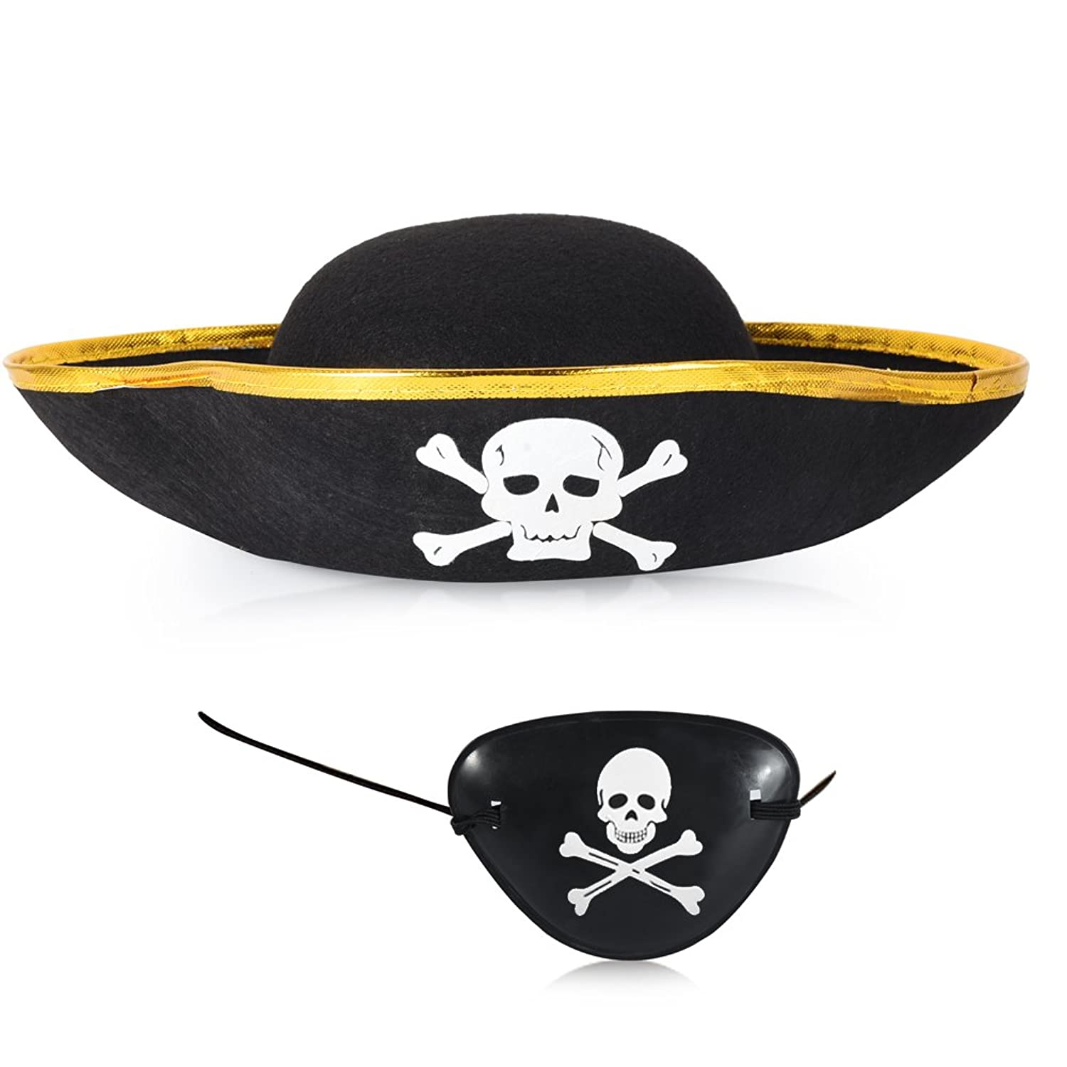 Vbiger Buccaneer Hat And Pirate Captain Eye Patches Halloween Costume Decoration by Vbiger