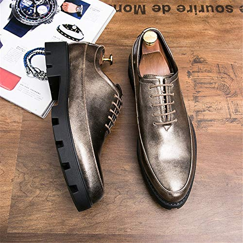 casual Gold uomo spessa verniciata Light 2018 pelle in UK uomo Classic scarpe Business Gold Light shoes Hongjun Fashion da Scarpe da eleganti Oxford impermeabile 5 8 7qRRzA