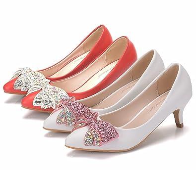 LEIT Damenschuhe Wies Dünne Schuhe Flache Flache Mund, 43, Weiß