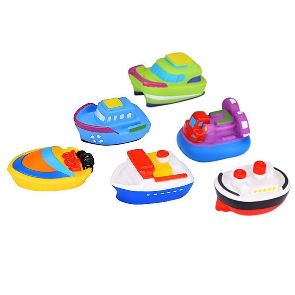 TOYMYTOY Barco flotante de pcs juguetes goma Cartoon baño chorro juguetes para