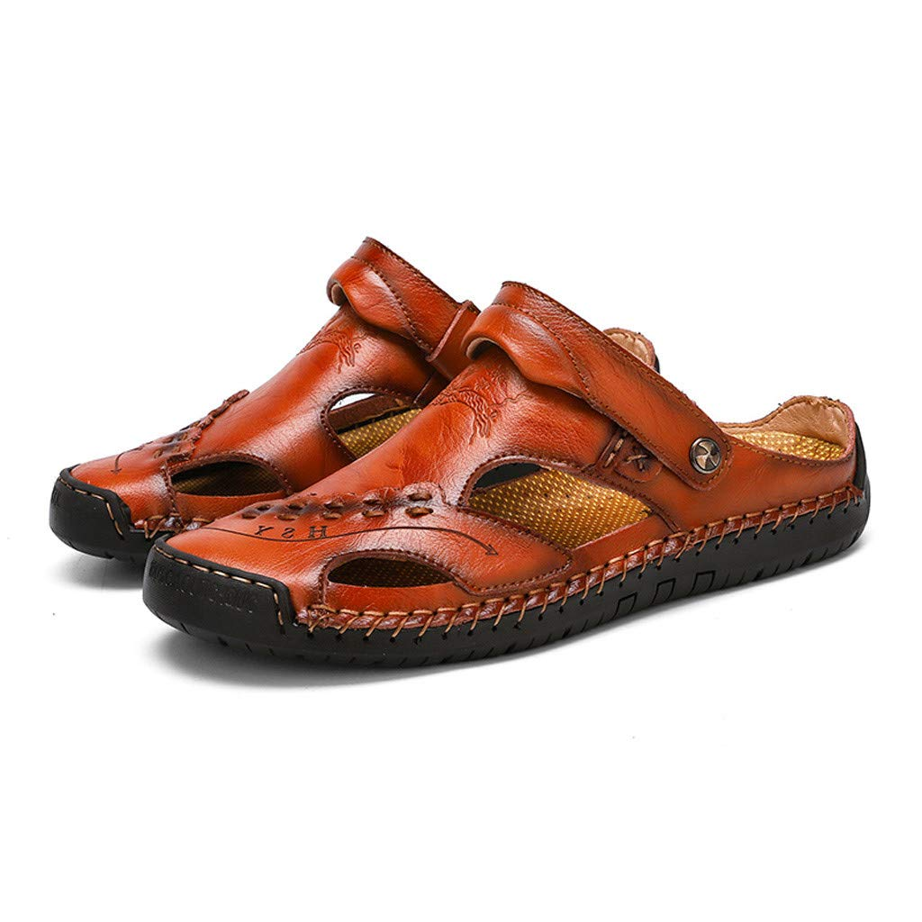 Leather Sandals for Men 2019 New Casual Lightweight Hiking Beach Water Shoes (US:8, Red 4)