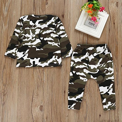 Saingace 2PCS Bébé Camouflage T-shirt Tops Un pantalon Outfits Vêtements (Label Size:70(0-6Mois))