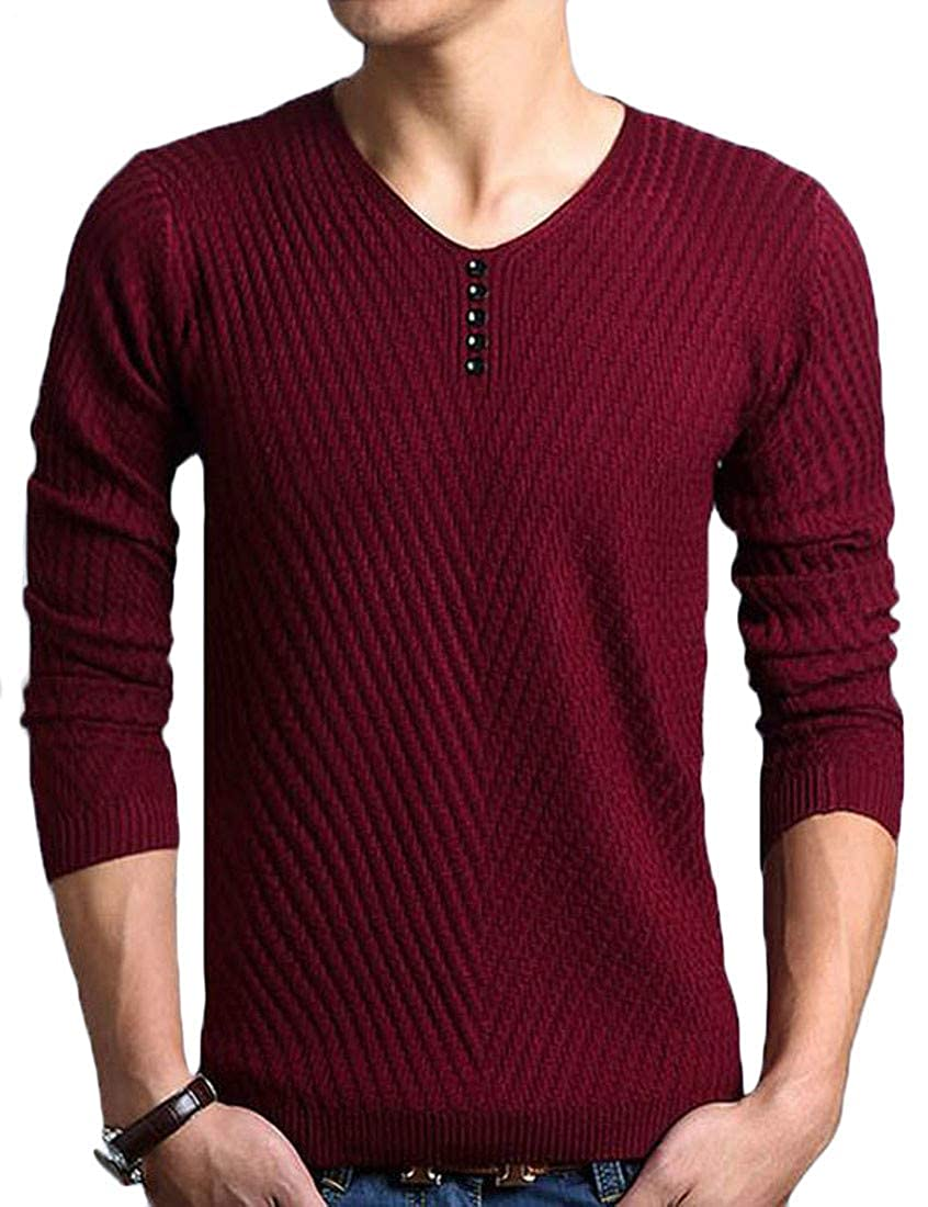 Pcutrone Mens Casual Long Sleeve Button V Neck Knitted Pullover Jumper Sweaters