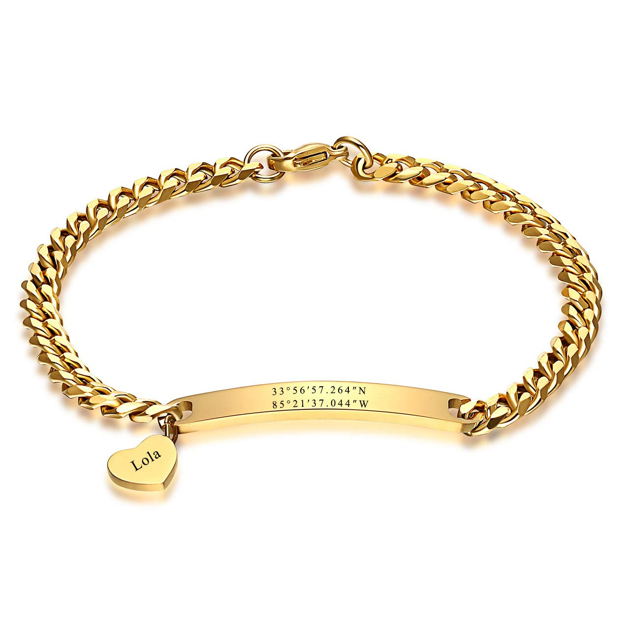 JOVIVI Personalized Customized Couples Bracelets Engraved Name Men Women Stainless Steel Thin Heart Link ID Bracelet Adjustable,Custom Coordinate Name Bar Bracelet
