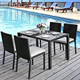 Leisure Zone Luxury 4 Seater garden furniture set - table and chairs set 5 piece Rattan Effect Outdoor Patio Dining Furniture Set 2 Year Warranty Black