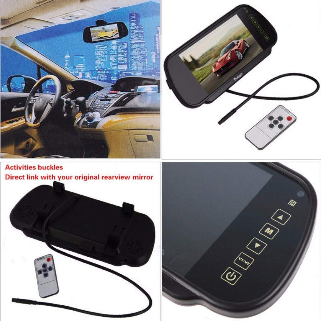Sonmer 7.0'' LCD Rearview Mirror HD MP5 Display Camera,120° Wide View,Support Night Vision,With 2.4Ghz Wireless Car Reverse Rear View Backup Camera by Sonmer_Car Kit (Image #4)