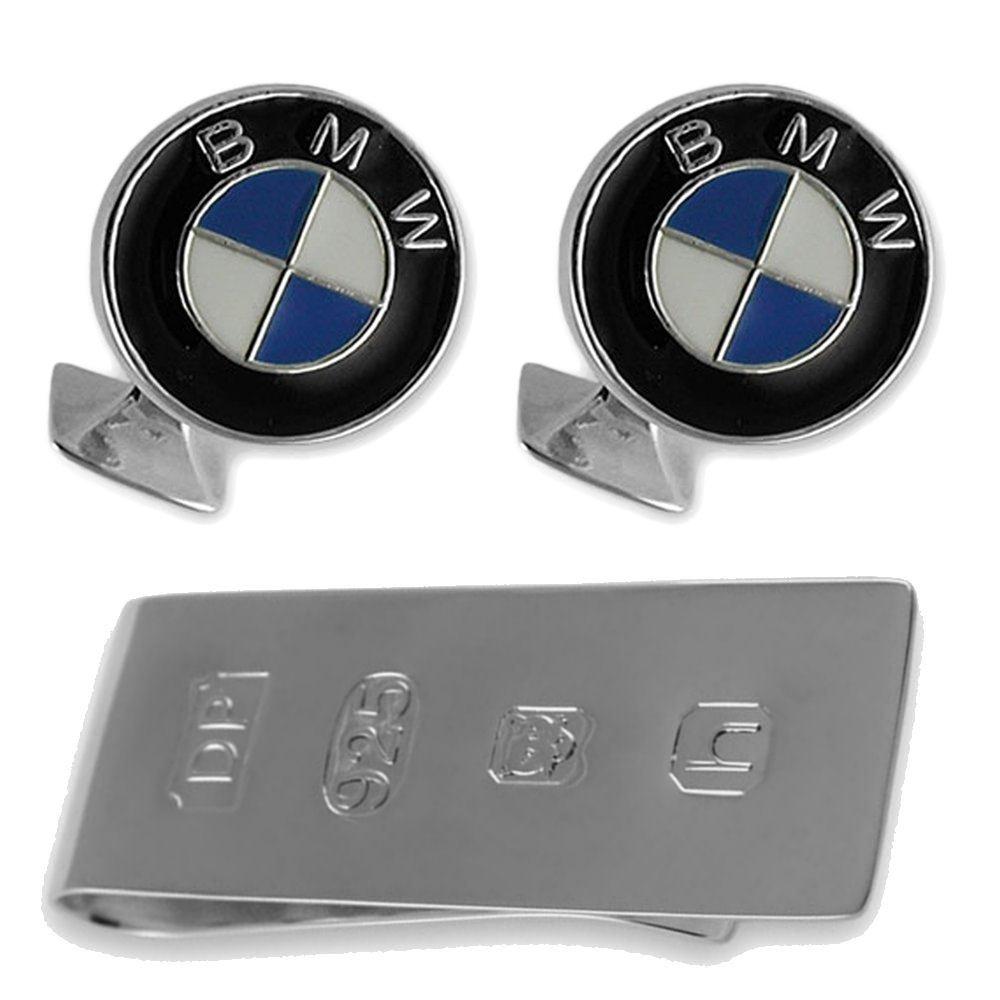 Sterling silver enamel BMW cufflinks James Bond Money Clip Box Set