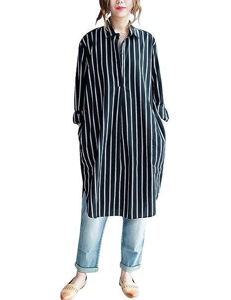 Youlee Mujer Cuello Polo A Rayas Patrón Blusas con Bolsillos Fit EU 36-42 Negro