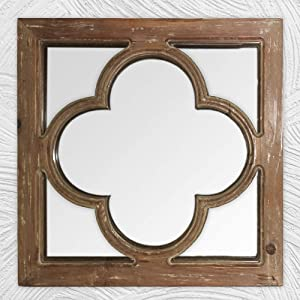 Antique Wooden Mirror for Wall, Farmhouse Wall Mirror Decorative, Antique Window Pane Farmhouse Decor for Living Room/ Bedroom, Entryway Decor, Fireplace Decor, Geometric Decor