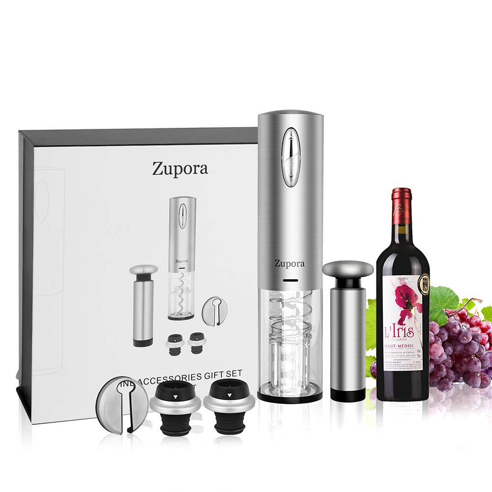 Electric Wine Opener Set, Zupora Cordless Wine Bottle Opener Electric Corkscrew Includes Automatic Wine Opener, Vacuum Preserver, Foil Cutter, 2 Bottler Stoppers 4 Piece Gift Set