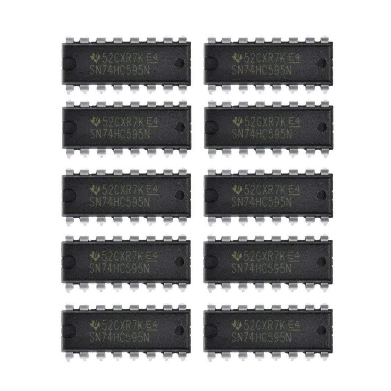 FRjasnyfall 10PCS IC 74HC595 74595 SN74HC595N registre /à d/écalage 8 bits DIP-16 NOUVELLE BONNE QUALIT/É Noir