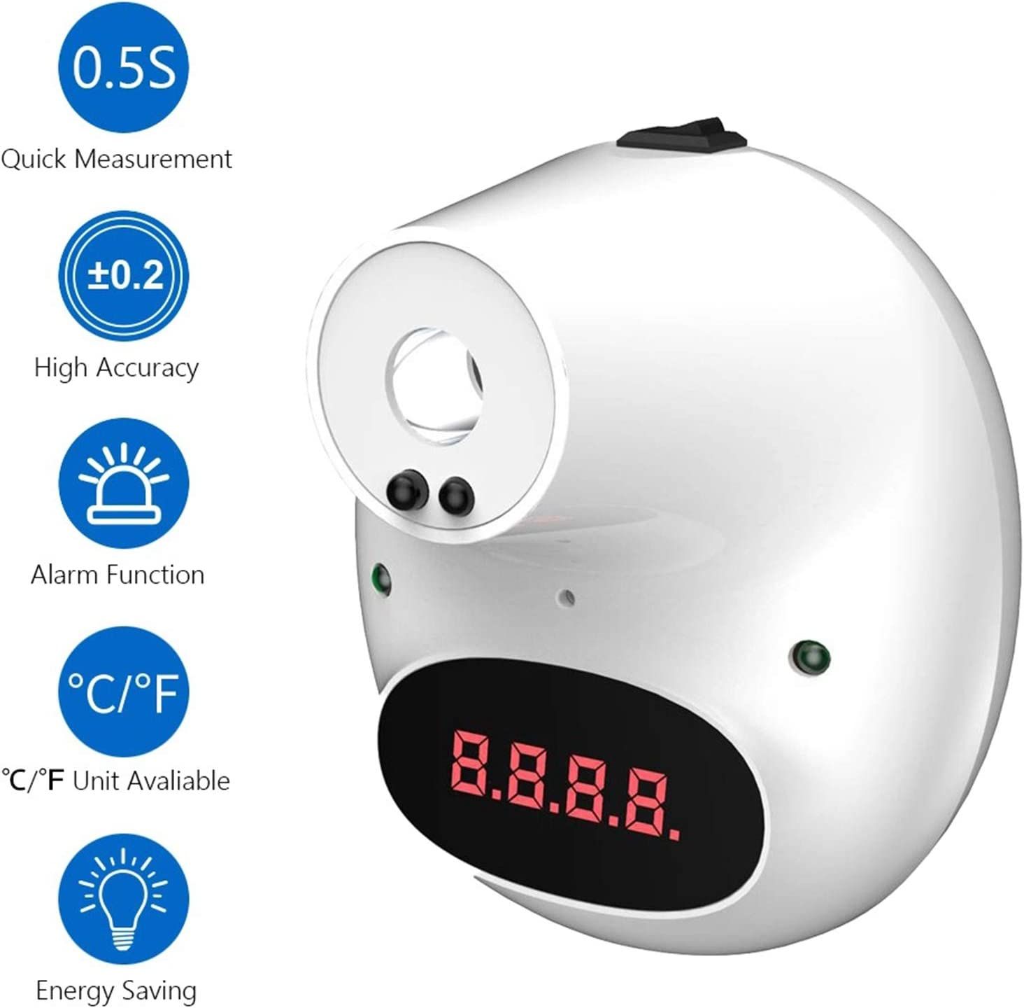 Factories Schools Shops Restaurants FGH Wall-Mounted Infrared Forehead Temperature Scanner Non-Contact Thermometer,Accurate Instant Reading,/ºC///ºF Displays,Fever Alarm,for Offices
