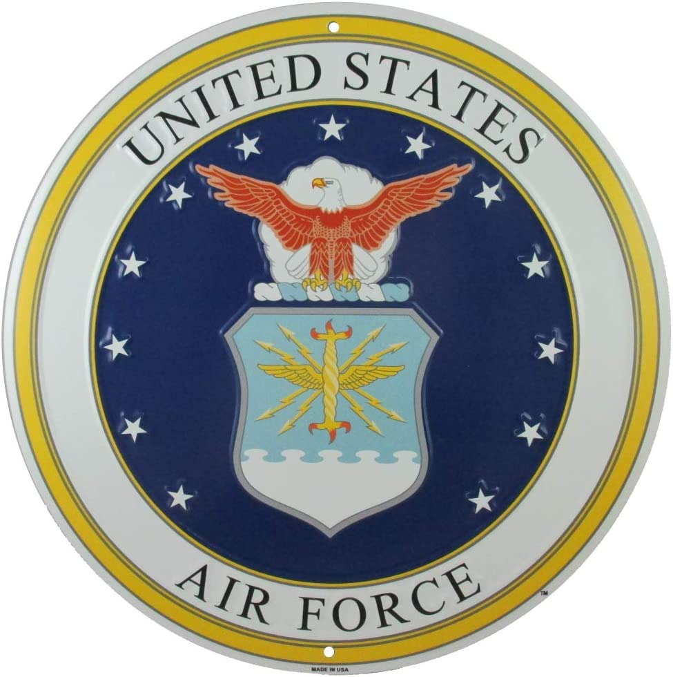 Tags America United States Air Force Logo Metal Sign, 12 Inch Round Embossed Aluminum Emblem, US Military Service Branch Wall Decor