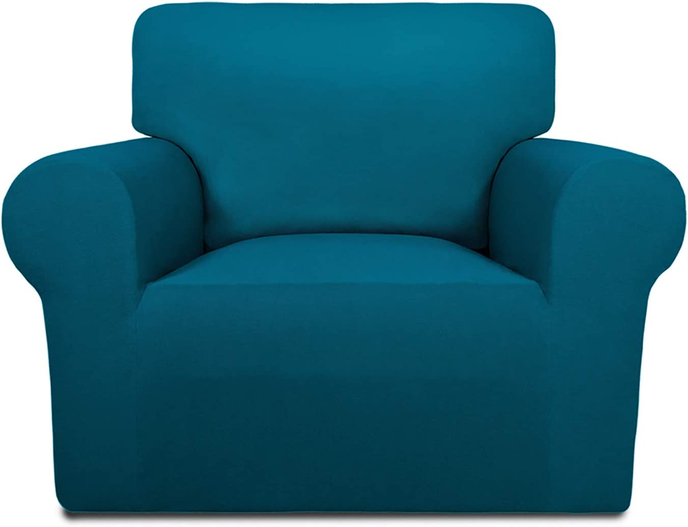 PureFit Super Stretch Chair Sofa Slipcover – Spandex Non Slip Soft Couch Sofa Cover, Washable Furniture Protector with Non Skid Foam and Elastic Bottom for Kids, Pets (Chair,Peacock Blue)
