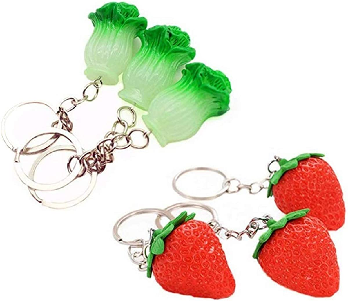 Funny live 6 Pcs Simulation Vegetables and Strawberrys Resin Keychains, Cute Creative Key Chain Key Ring Car Key Chain for Kids Adults, Backpack Pendant Wallet Phone Decor