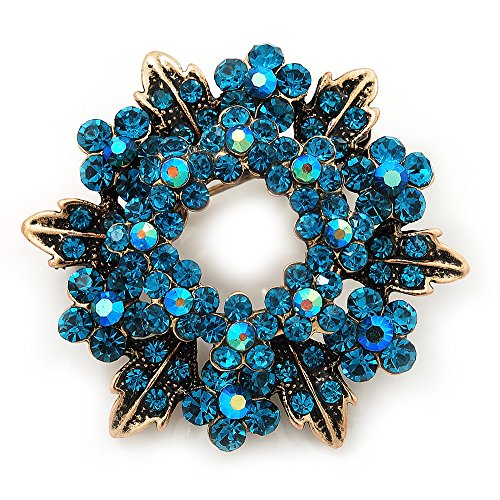 Turquoise Coloured Crystal Wreath Brooch In Antique Gold Metal - 4cm Diameter ()