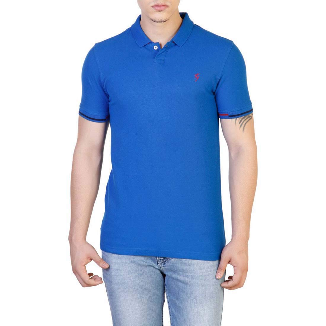 Indian Handicrfats Export Blue Solid Slim Fit Cotton Mens T-Shirt