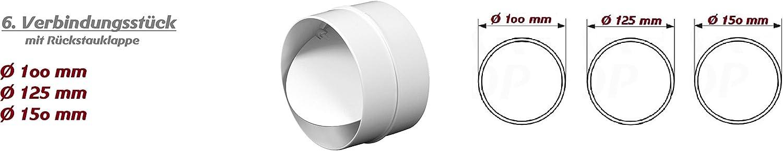 Reduzierst/ück /Ø 80-150 mm Tube da/ération en plastique Tube rond entr/ée sortie dair R/éducteur connecteur /Ø 80 100 110 120 125 150 200 mm Syst/ème de ventilation Coude ABS clapet anti-retour Bride PVC /&Os