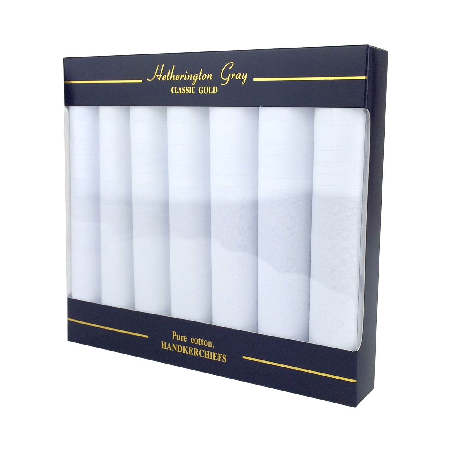 Mens White Handkerchiefs Quality Cotton Gents Hankies 7 Pack of Mans Handkerchieves Plain White 100/% Soft Cotton Pocket Hanks By Hetherington Gray Supplied Boxed Perfect as a Gift for Men