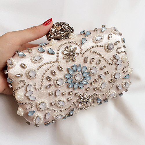 Ailina Hand-made Beaded Cindy Clutch Bag with Colored Crystal Stones for Party/Wedding