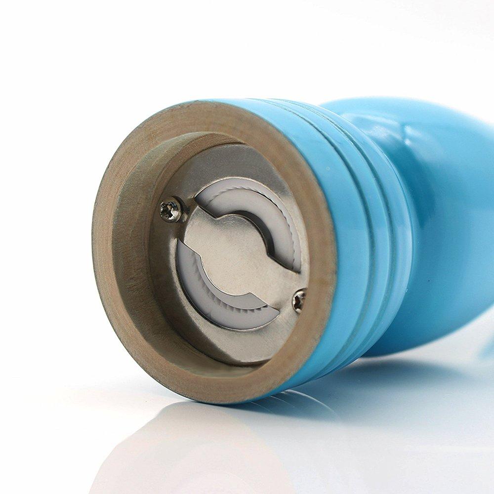 FUNUANBANG Wood Salt Seed Spice Pepper Grinder for Kitchen Hotel Picnic - Blue Wooden 9'' - ceramic grinder (Blue)