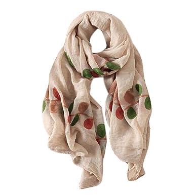 Léger Écharpe douce Fashion Châle pour Lady broderie Écharpe, feuilles,  blanc cassé 4a565349f1b