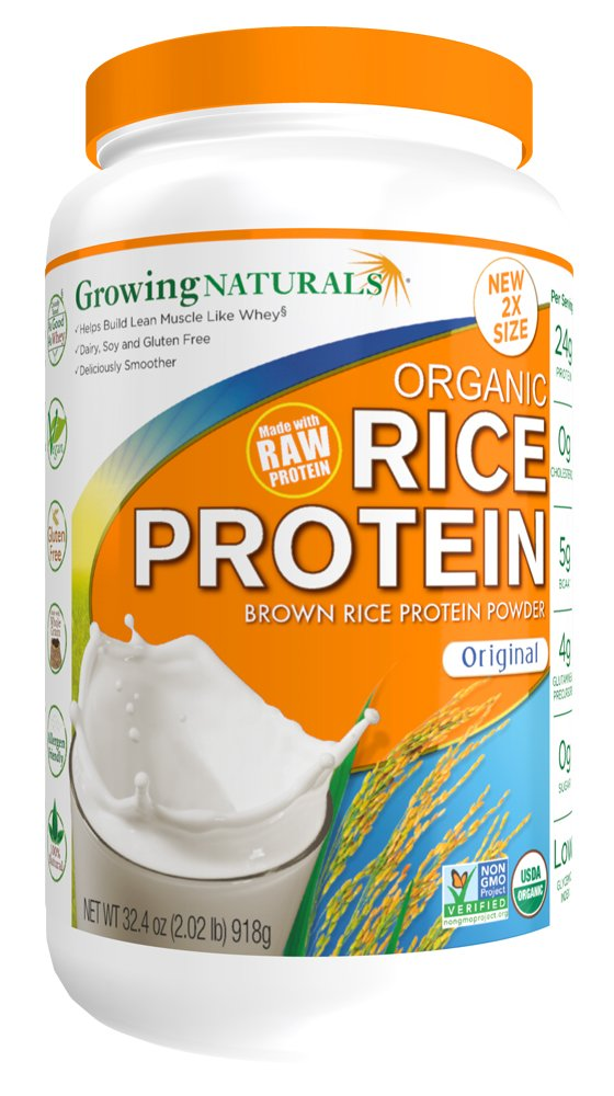 Growing Naturals Organic Rice Protein Powder, Original, 32.4 Ounce