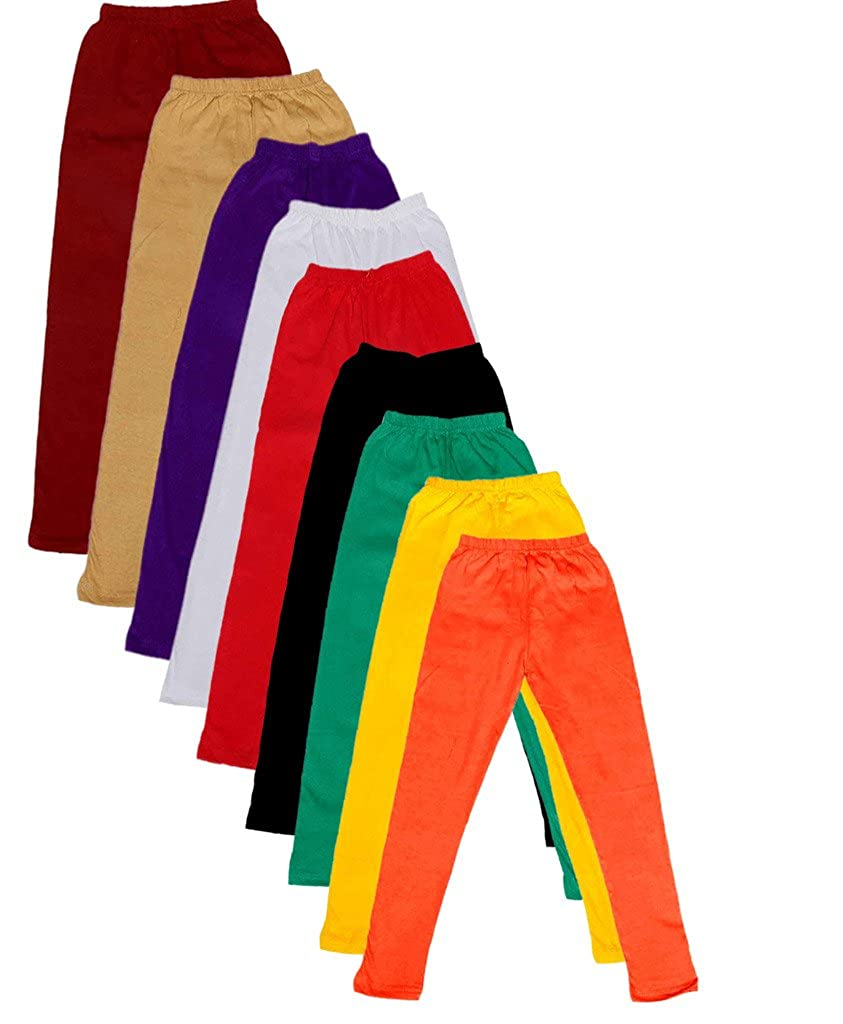-Multiple Colors-17-18 Years Pack of 8 Indistar Big Girls Cotton Full Ankle Length Solid Leggings