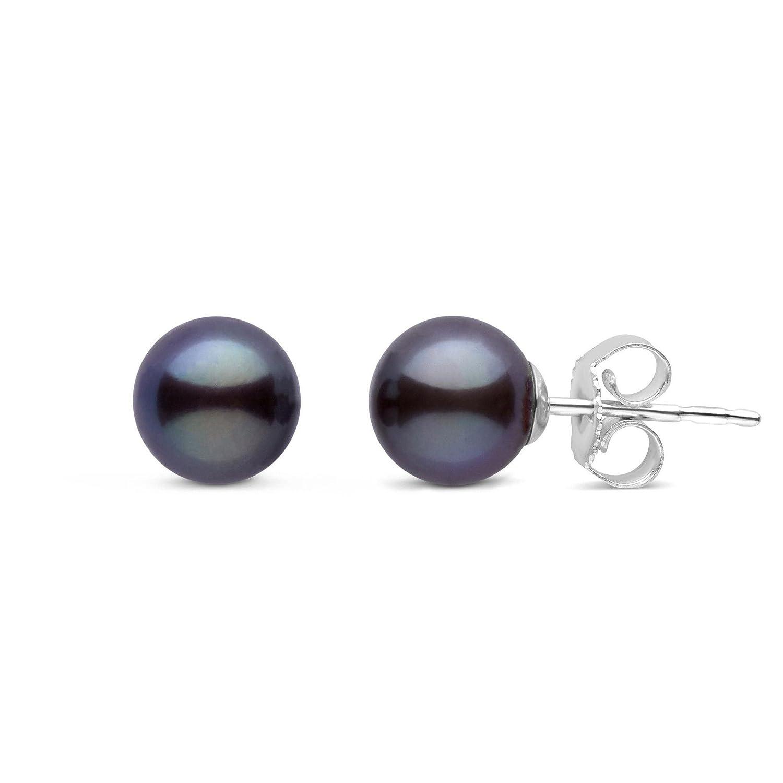 6.5-7.0 mm AAA Black Freshwater Round Cultured Pearl Stud Earrings Pearl Paradise FWE-F3ARDBK70-E14WG