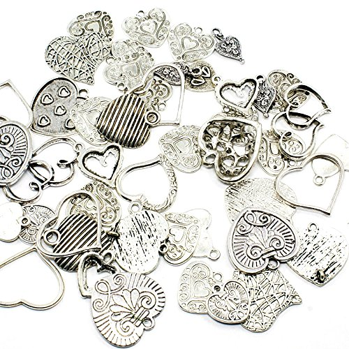 Kissitty 50-Piece Antique Silver Random Mixed Style Sweet Heart Spacer Charms 16~30mm Tibetan Metal Heart Beads for DIY Jewelry Making from KISSITTY
