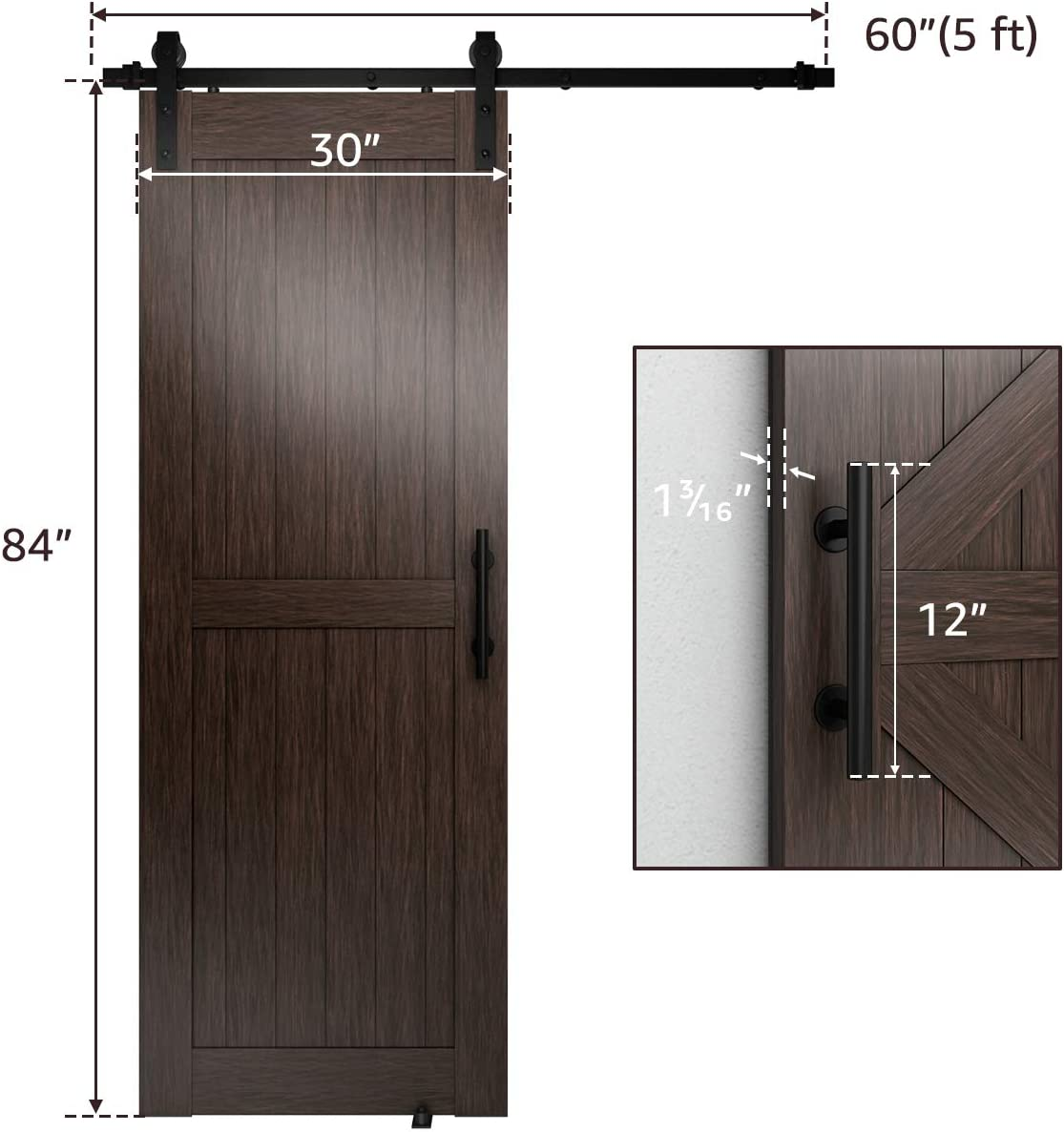 for 36in-40in Wide Sliding Door Panel Easy Installation,Basic J Classic Design Standard Track with Upgraded Nylon Bearings Genius Iron 6.6FT Single Barn Door Hardware