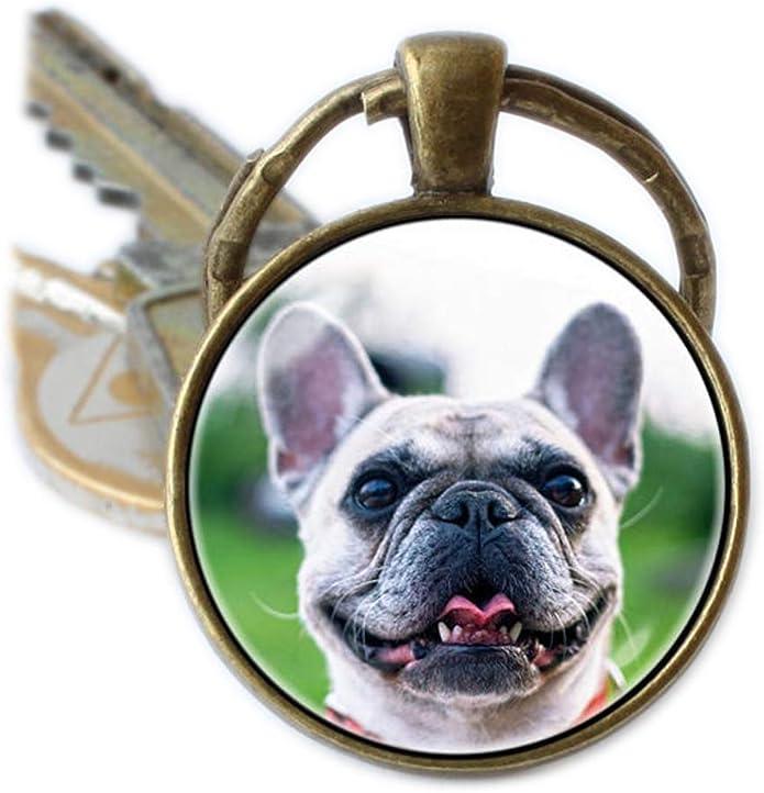 nicht wählbar Schlüsselanhänger Französische Bulldogge Kette mit Schlüsselring