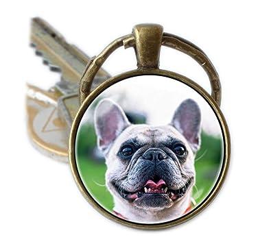 Beautiful Dandelion Llavero de perro bulldog francés ...