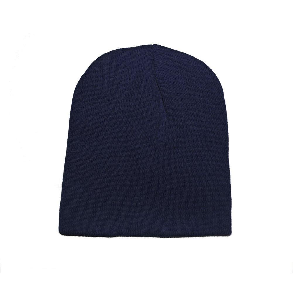 Opromo Short Ski Winter Beanie Basic Plain Warm Knit Cap Ski Snowboarding Hat-NavyBlue-96piece