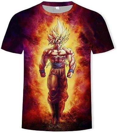 Camisetas, Dragon Ball Anime Camiseta para Hombre De Manga Corta De Secado Rápido Cuello Redondo Unisex Naranja Rojo 3XL: Amazon.es: Ropa y accesorios