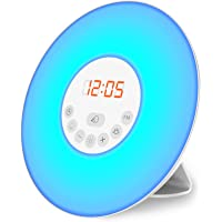 B.K.Licht I LED Väckarklocka I Digital klocka I simulerar soluppgången I Klockradio I 7 färger I RGB I dimbar I 7…