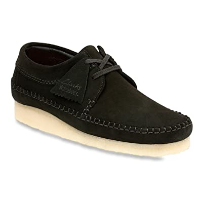 CLARKS Men's Weaver Shoes, Black Suede, 10 M US