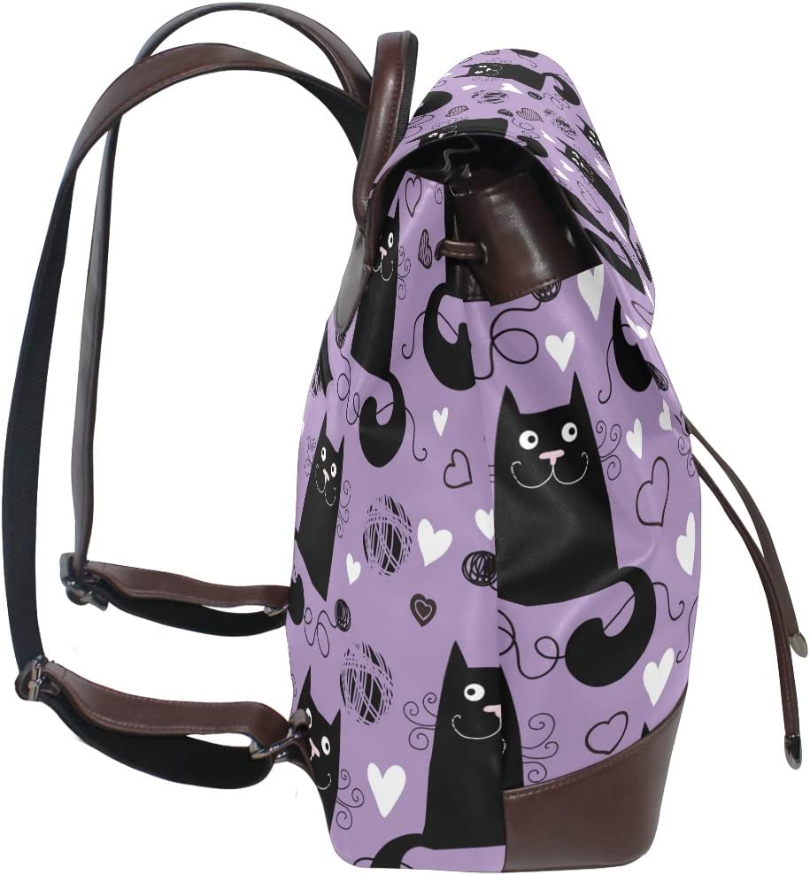 KUWT Funny Black Cats Play Hair Ball PU Leather Backpack Photo Custom Shoulder Bag School College Book Bag Rucksack Casual Daypacks Diaper Bag for Women and Girl