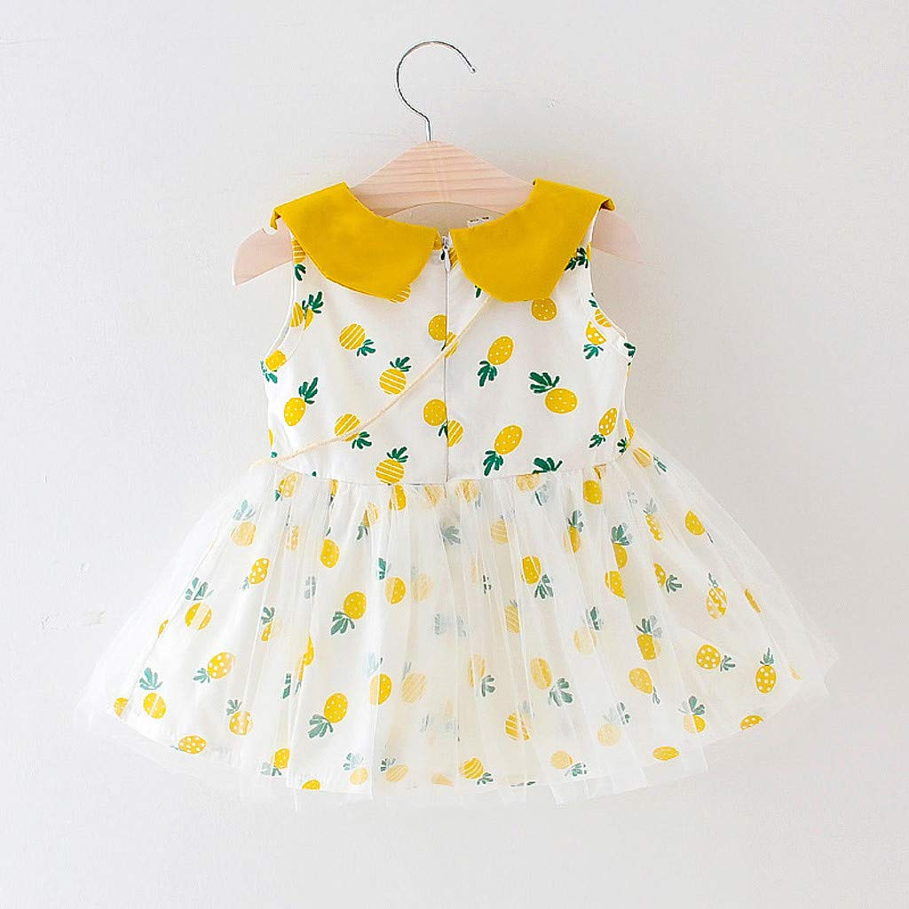 Hstore❀ Toddler Kid Baby Girl Cute Plaid Fruit Printed Party Princess Dress Clothing