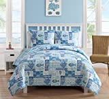 quilts in blue - King Size Quilt Set in Blue Beautiful Beach 3 Pc Set w/ 2 Shams