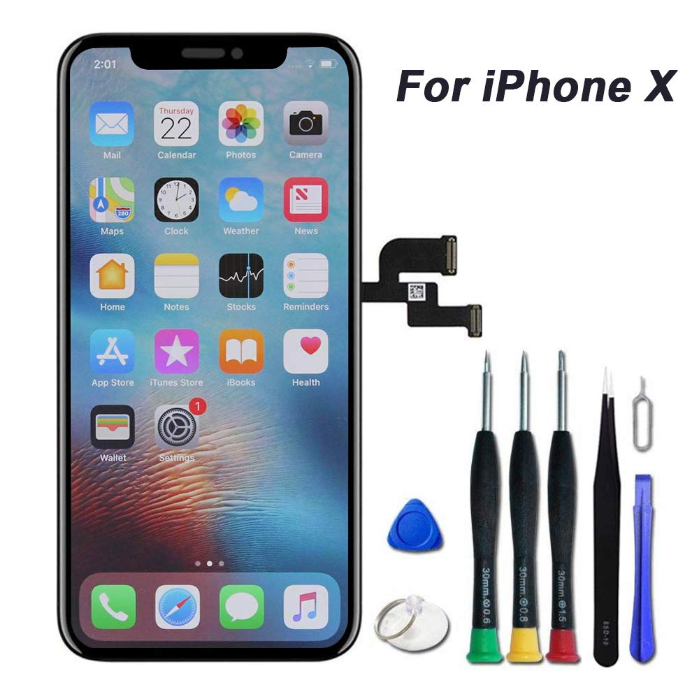 for iPhone X Screen Replacement 5.8 inch LCD Touch & Display Digitizer Screen Replacement Frame Assembly with Complete Repair Tools by EOE