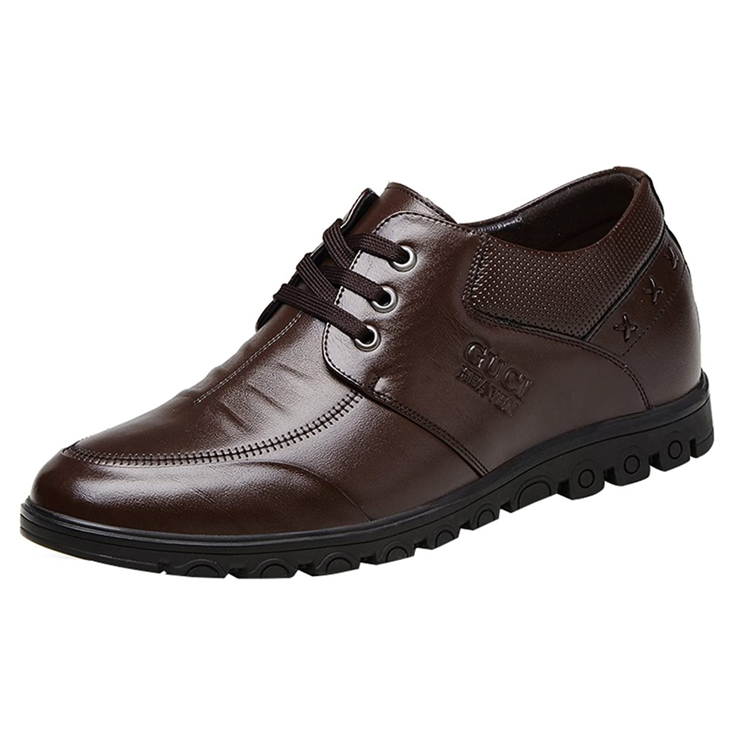 Passionow Men's Daily Casual Work High Increase Within Creasing Leather Oxfords
