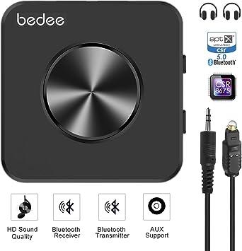 Transmisor Bluetooth 5.0 Audio Adapter bedee Bluetooth Audio Receiver receptor 2 en 1 para HiFi Audio Stereo TV Laptop Auto hogar Bluetooth Receiver con digital óptico, aptX HD aptX LL Tech: Amazon.es: Electrónica
