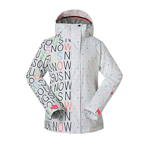 Dintang Mujeres Hoodies de Invierno Cálido Traje de Esquí Impermeable Chaqueta de Snowboard Abrigos BlancoXS